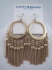 Lucky Brand hammered gold tone hoop~fringe dangle earrings, NWT