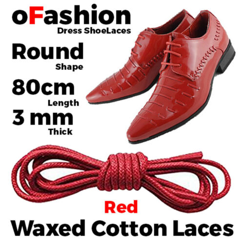 Wax Cotton Red Thin Round Dress Shoelaces Work Boot Hiking Trekk Waxed Cord Lace