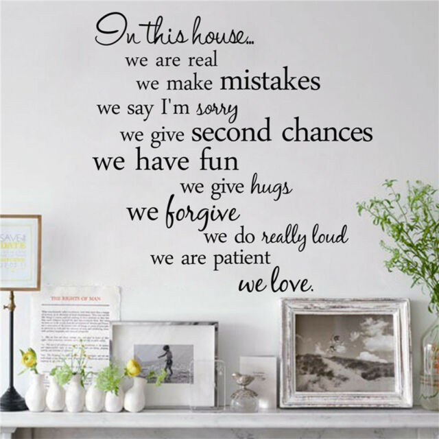 In this house We Are Real Wall Sticker Quotes Lettering Words Decals Backdrop