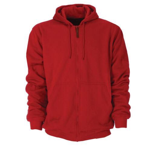 Berne Mens Ruby Red Cotton Blend Hooded Sweatshirt
