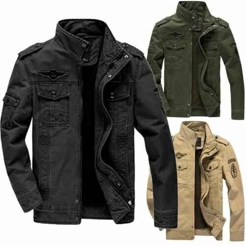 Man Winter Washed cotton Combat Field Military Army Jacket Coat Casual Outwear