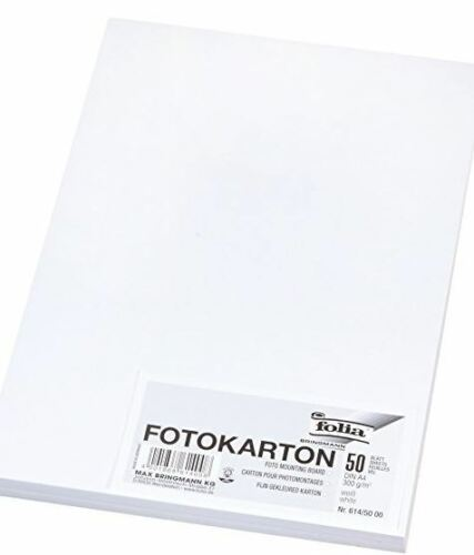 FOLIA Fotokarton DIN A4 300 g//qm 50 Blatt rot grün blau schwarz weiss gelb