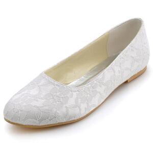 Details zu EP11106 Weiß Ivory Spitze Flache Damenschuhe Brautschuhe 35 36 37 38 39 40 41 42