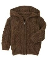 Gymboree Alpine Patrol Brown Cable Hooded Cardigan Sweater 3 6 12 18 2t