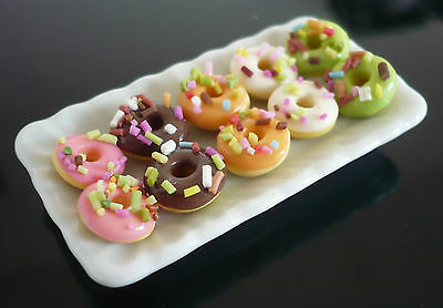10 Halloween Donuts  Bakery on Plate DOLLHOUSE MINIATURE FOOD DECO