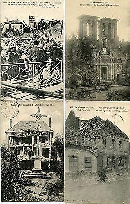 Gran Venta Lot 4 Cartes Postales / Guerre / Divers Villes Et Obliterations Tresor Et Postes El Precio Se Mantiene Estable