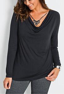 Geschmackvolles-Shirt-mit-Wasserfallkragen-Gr-48-50-schwarz-917855-Neu