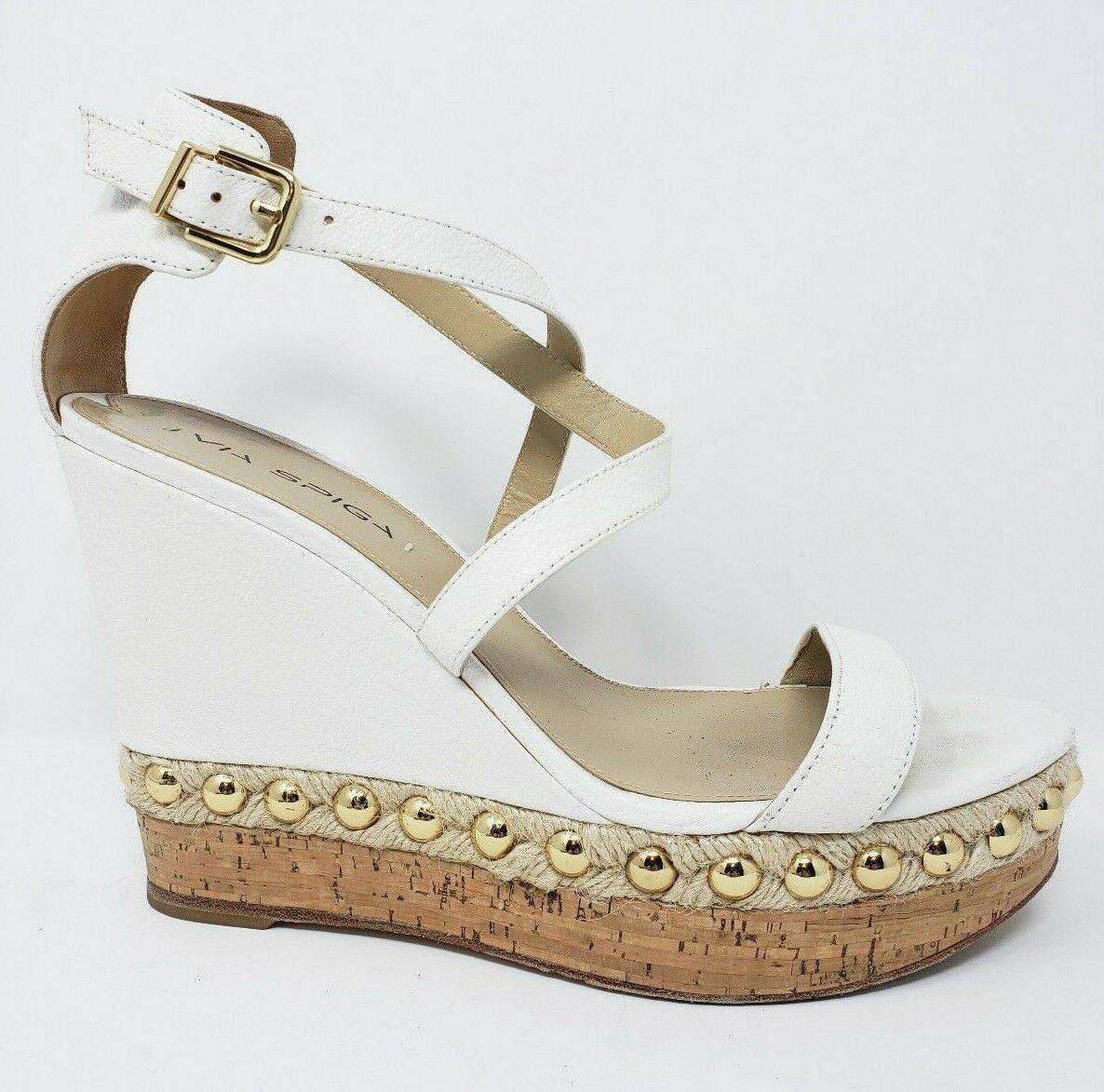Via Spiga Wedge Heel Womens 9.5 White Wedding 5   1  platform espadrille