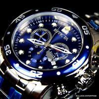 Mens Invicta Pro Diver Scuba Silver Blue Steel Chronograph Swiss Parts Watch New