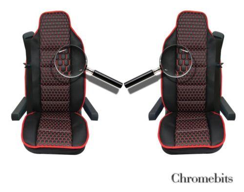 Negro PU Cuero /& Premium Tela Lujo Fundas de Asiento para Volvo Fh12 Fh16 Fl Fm