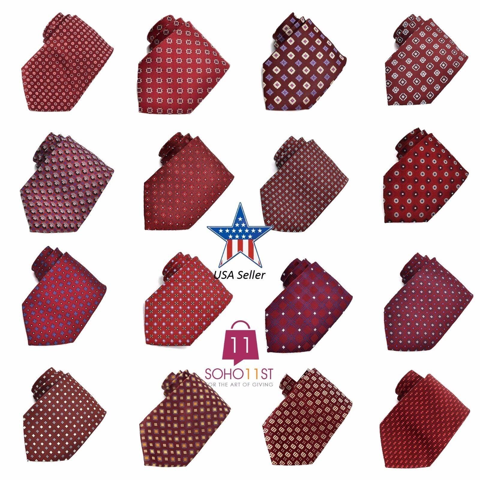 ! lo último! 100% seda nueva JACQUARD tejido hecho a mano Tie Hombre trajes lazos – Borgoña