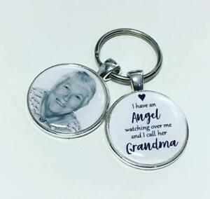 Image is loading Grandma-Angel-personalised-memory-photo-keyring-bereavement -gifts