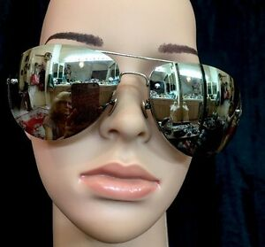 8639fcff533 Image is loading Linda-Farrow-Sunglasses-Silver-Aviator-Mirror-Cat-3