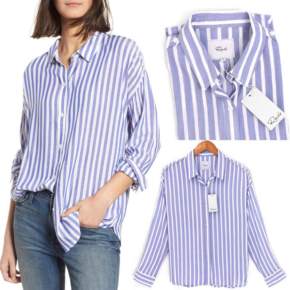 NWT Rails Josephine Button Up Stripe Shirt Light Weight White bluee