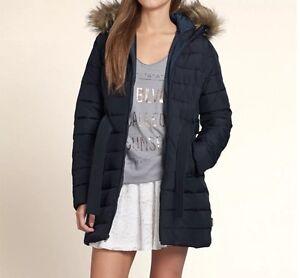 b4186085 NWT HOLLISTER Women's Scripps Pier Puffer Parka Jacket XS/NAVY BLUE ...