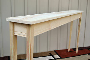 Unfinished 60 narrow console sofa tapered leg shaker for 60 wide console table