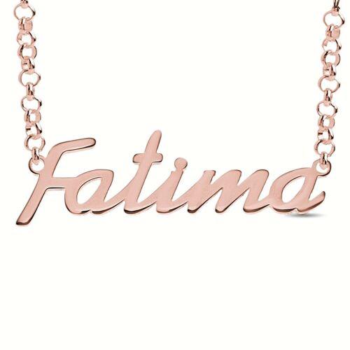 Fatima Personalizado Nombre Collar chapado en Oro Rosa Colgante De Regalo De Plata Maciza