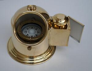 Vintage marine binnacle boat gimbal compass brass nautical ship navigation decor
