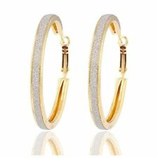 LARGE 18K REAL GOLD PLATED MADE WITH BRUSHED CRYSTALS HOOP EARRINGS 50MM