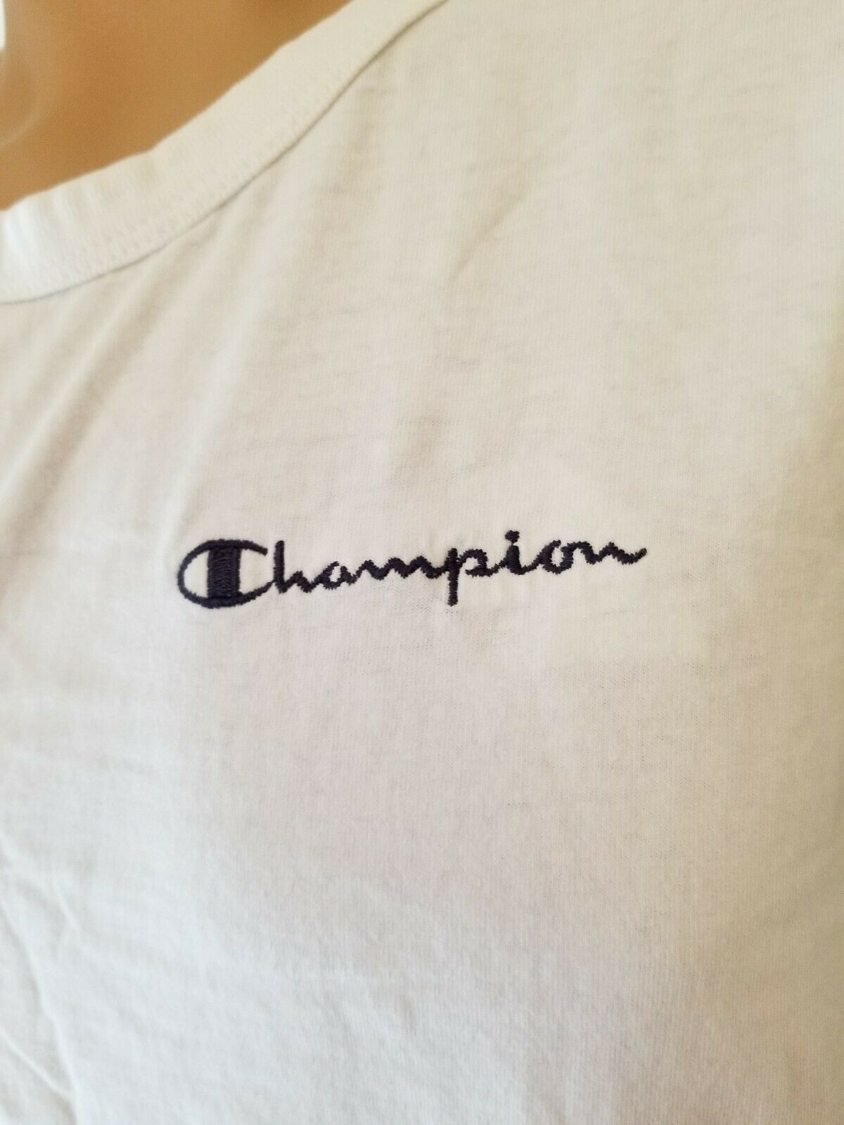 Vintage Champion Brand Shirt Sleeveless Stitched White Large Spellout 90s 1990s