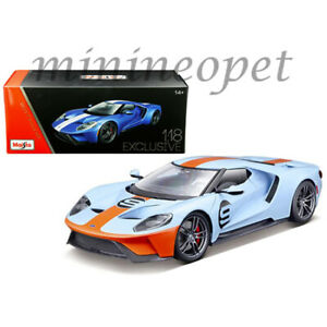 MAISTO-38134-EXCLUSIVE-EDITION-2017-FORD-GT-1-18-9-LIGHT-BLUE-w-ORANGE-STRIPES
