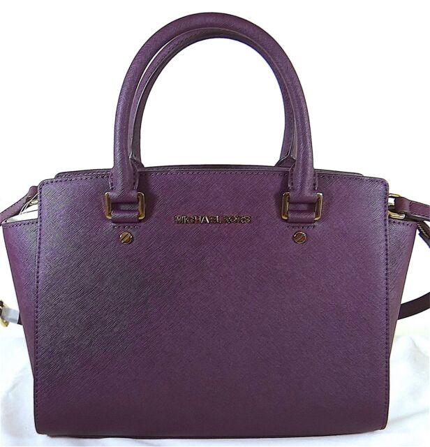 2ede6377bfdc Michael Kors Selma Medium Damson Leather Satchel Bag 30S3GLMS2L for ...