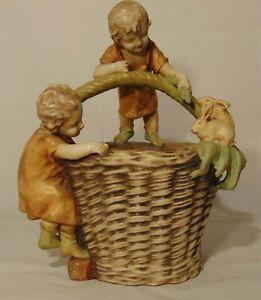"LARGE Turn Teplitz Amphora Austrian Pottery Basket Children Rabbit Easter 15"""