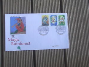 MAGIC-RAINFOREST-3-JOINED-STAMPS-ELF-PRIVATE-FIRST-DAY-COVER-KYOGLE-PMK