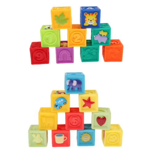 Soft Building Stack Blocks Teething Teether Chewing Cube Toys for Toddlers