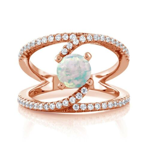 0.88 Ct Round White Simulated Opal 18K Rose Gold Plated Silver Swirl Ring