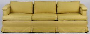 KITTINGER-Mid-Century-Modern-Mahogany-Upholstered-Sofa-Gold-Fabric-with-Skirting