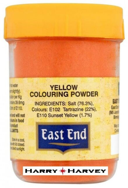 12 X 25g East End Egg Yellow Food Colouring Colour Powder Cooking Cake Curry