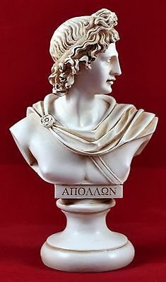 Apollo Βust greek statue light music god patina colour NEW
