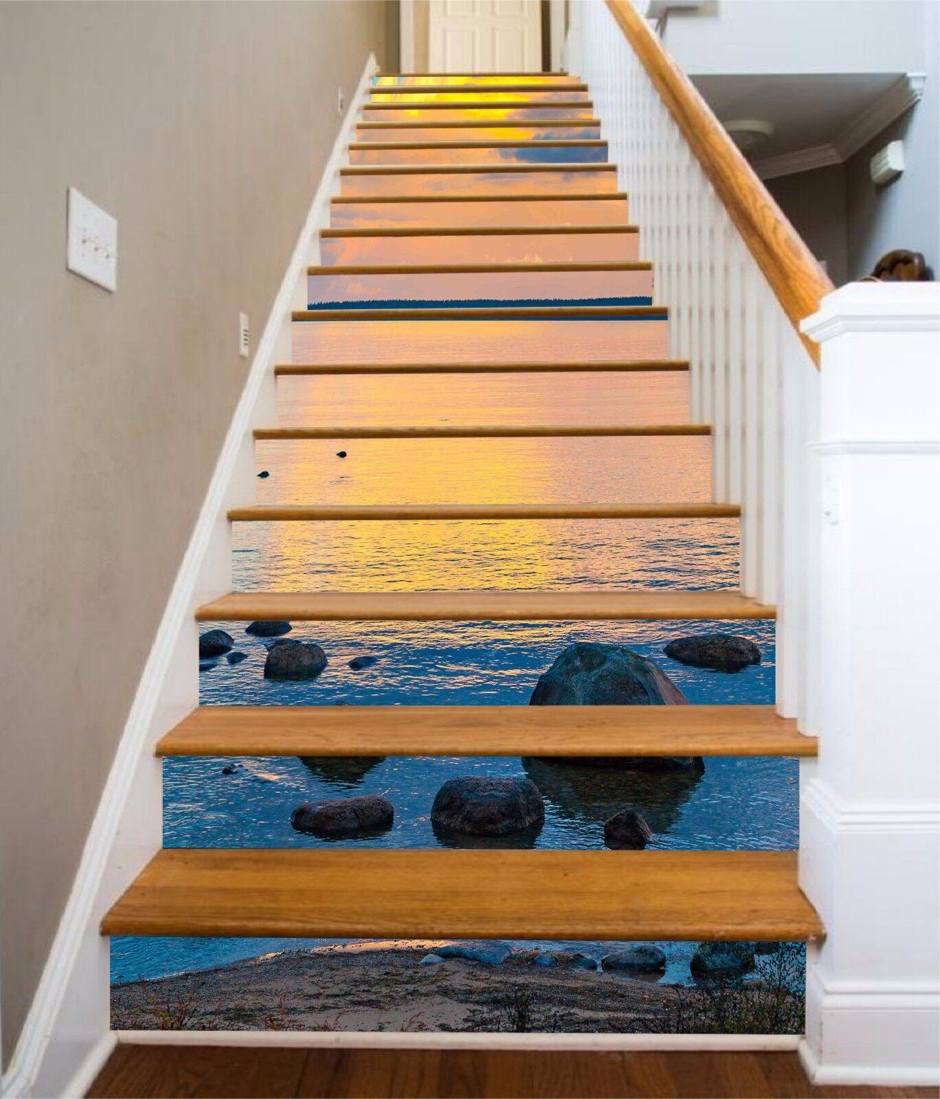 3D Dusk Sea 75 Stair Risers Decoration Photo Mural Vinyl Decal Wallpaper AU