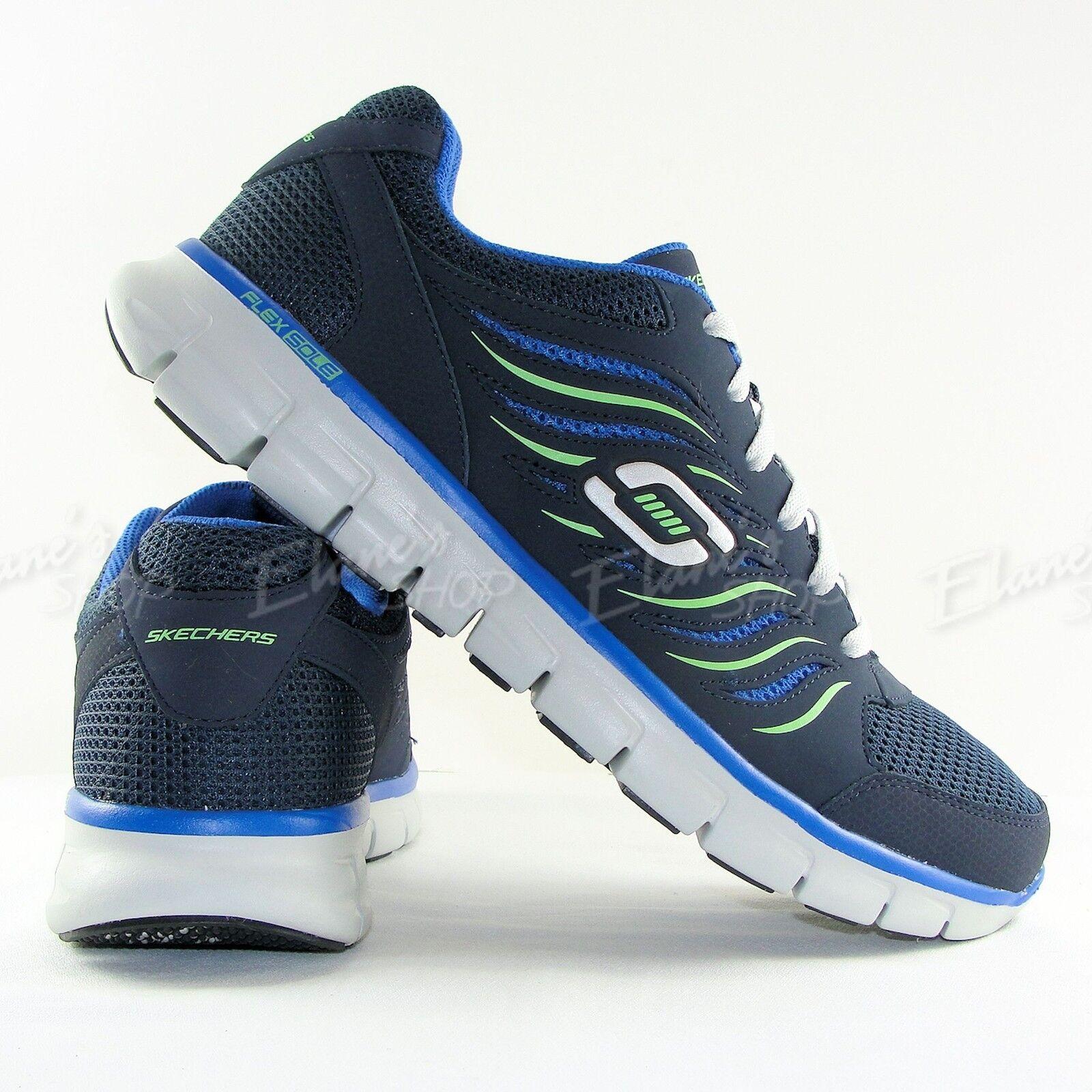 Men's SKECHERS 51182 NVBL Synergy Sneakers Shoes NEW FlexSole Navy Green Gray