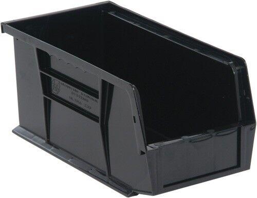 """QUS230 Quantum Plastic Storage Stacking Bin 10/"""" x 4/"""" x 4/"""" Black Carton of 12"""