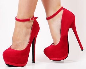 Red Platform Heels With Strap | Tsaa Heel