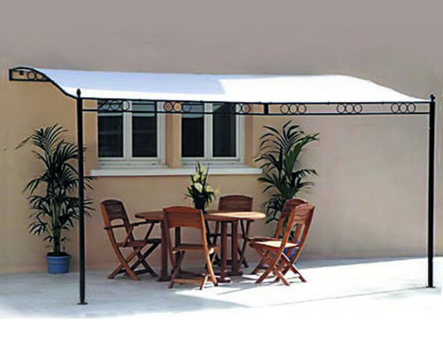 3.5M x 2.5M Fixed Wall Metal Framed Patio Awning Pergola Gazebo Canopy Marquee