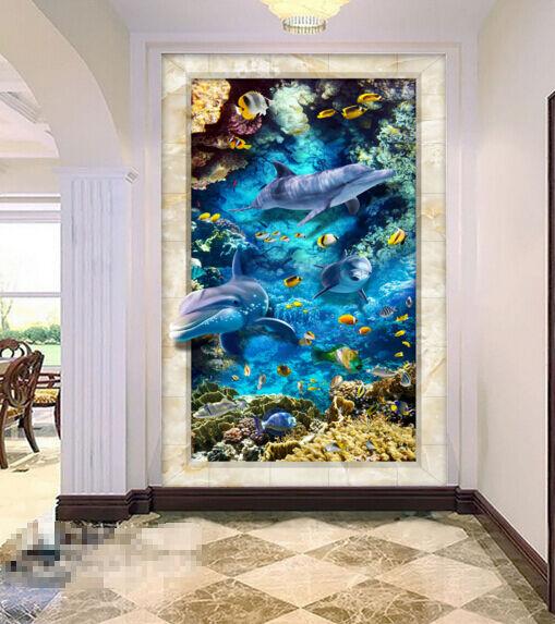 3D Océan 063 Fond d'écran étage Peint en Autocollant Murale Plafond Chambre Art