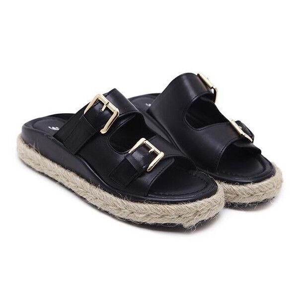 Sandalias elegantes bajo zapatillas colorido negro cuerda cómodo como piel 1085