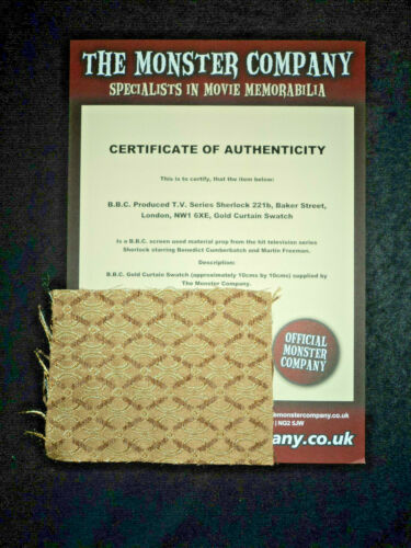 SCREEN USED PROP BBC SWATCH 221B BAKER STREET GOLD CURTAIN MATERIAL PRODUCTION