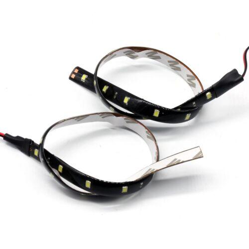 2*30CM Auto KFZ 15LED Weiß 12V 3258 SMD Strip Streifen Band flexibe Lichterkette