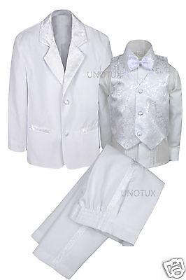 Popular Brand New Boys Baby Infant Teen Wedding Communion Formal Bowtie Tuxedo Suit S-20 White