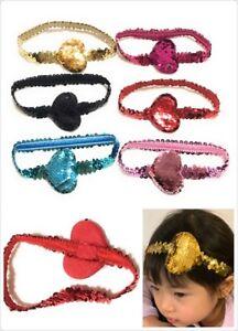Bambine Bambini Sequin Heart Hairband Cerchietto Stretch Elastico Turbante Testa Wrap UK  </span>