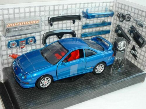 Honda Acura integra Type-r 2000 Blau Coupe Mit Tuningteilen 1//24 Motormax Modell