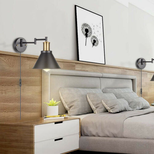 Swing Arm Wall Lamp Plug-In Cord Industrial Wall Sconce back Finish 2 lights