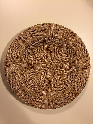 Woven Round Wicker Charger Plates Camel Color Pottery