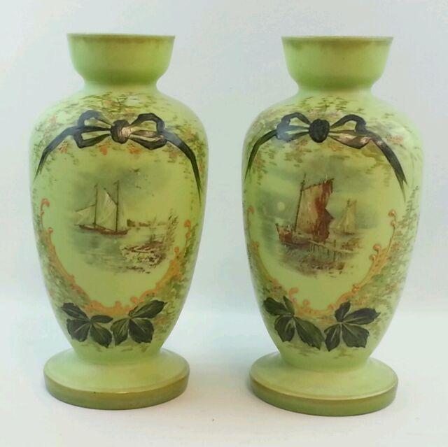2pc Unique Antique Green Glass Vases Jars Victorian Hand Painted