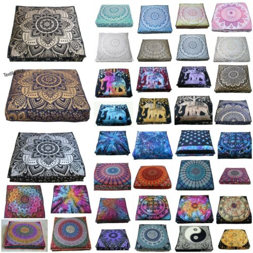 "Indian Mandala Floor Cushion Cover 35"" Square Pouffe Cotton Fabric Beautiful Art"