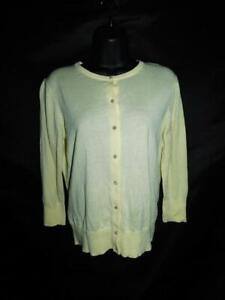 Ann-Taylor-M-NWT-Pastel-Yellow-Cardigan-Sweater-Cotton-Modal-Knit-Button-Front-M